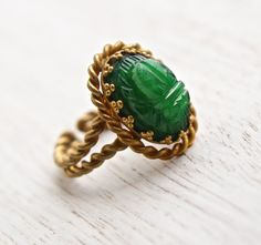 Antique Scarab Ring  Vintage Green Glass Brass by MaejeanVINTAGE, $32.00