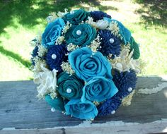 Navy turquoise and teal bridal bouquet Wedding Beach, Wedding Rustic, Wedding Ideas, Rustic Bridal Bouquets, Rustic Bouquet, Alternative Bouquet, Sola Flowers, Wood Vase, Teal