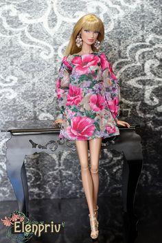 ELENPRIV floral printed chiffon mini dress for Fashion royalty FR2 and similar body size dolls. by elenpriv on Etsy