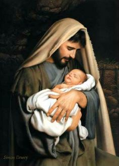 St Joseph - Pray for us AN UNUSUAL NATIVITY PICTURE -- not a portrait of mother Mary, but of earthly father Joseph cradling the sleeping baby Jesus. Artwork with photography portrait quality by Simon Dewey - Images Du Christ, Pictures Of Christ, Religious Pictures, Religious Art, Simon Dewey, Image Jesus, Jesus E Maria, Lds Art, Holy Family
