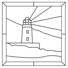 stain glass light house, lets print it for a coloring page Stained Glass Light, Stained Glass Designs, Stained Glass Panels, Stained Glass Projects, Stained Glass Patterns, Mosaic Patterns, Landscape Art Quilts, Art Plastique, Digital Stamps