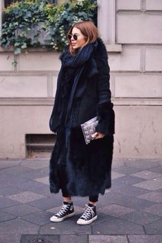 Maya Wyh // Fur Coat // Converse // Long Black Scarf