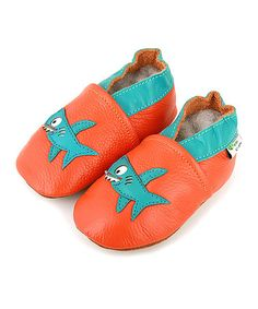 Take a look at this Orange & Turquoise Shark Booties by Augusta Baby on #zulily today!