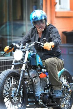 Brad Pitt is a Cool Rider on His Motorcycle in New Orleans