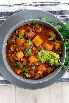 Whole30 Compliant Beef and Sweet Potato Chili Recipe