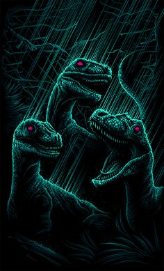 "Jurassic Park - Dan Mumford - ''Velociraptor's a Pack Hunter'' ---- Art featured in Hero Complex Gallery's ""Imagined Worlds -- tribute to Spielberg, Jackson, Nolan, Carpenter, and Cameron Jurrassic Park, Park Art, Jurassic World Wallpaper, Dan Mumford, Dinosaur Wallpaper, Dinosaur Art, Preschool Dinosaur, Jurassic Park World, Prehistoric Creatures"