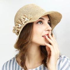 2c0002244e6 Pearl flower straw bucket hat for lady summer beach or travel wear