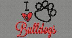Embroidery design 4x4 I heart  Bulldogs embroidery design 4x4 basketball, football, baseball applique
