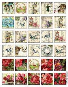 1.5 inch squares Vintage Printable Images Download and by 300dpi, $4.00