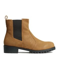 Ankle boots in light brown faux leather, with contrasting side panels & chunky cleated soles. | H&M Shoes