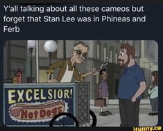 Y'all talking about all these cameos but forget that Stan Lee was in Phineas and - iFunny :) Funny Marvel Memes, Dc Memes, Stupid Funny Memes, Funny Relatable Memes, Milo Murphy, Phineas And Ferb Memes, Disney Jokes, Disney And Dreamworks, Marvel Cinematic Universe
