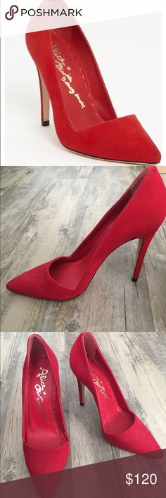 Alice + Olivia Dina Pump Red suede, 37.5. No box. Excellent condition, except: I have tried them on (never worn outside, just collecting dust on my shoe rack) and there is one small mark on the inner part of the left heel (shown in pics) that is likely removable but I was afraid to try because they're red suede and my suede cleaner is marked for black suede. If it's a concern, the best bet is to take it to a cobbler. Alice + Olivia Shoes Heels