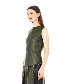 PETAR PETROV Green leather top crew-neck sleeveless cashmere on the back back one-button closure 100% Leather  100% WS