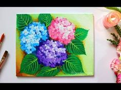 STEP by STEP Hydrangea Flower Painting for Beginners using Easy Techniques - Bing video Hydrangea Painting, Easy Flower Painting, Simple Oil Painting, Acrylic Painting Flowers, Easy Canvas Painting, Simple Acrylic Paintings, Spring Painting, Acrylic Painting Tutorials, Abstract Flowers