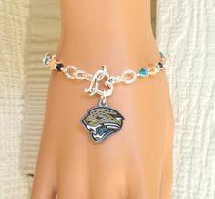 Jacksonville Jaguars Bracelet, NFL Jaguars Gold, Black and Teal Crystal Bling Pro Football Bracelet by scbeachbling on Etsy