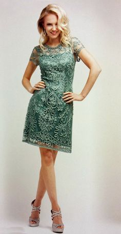 Knee Length Lace Sage Green Dress Semi Formal Short Sleeve (3 Colors Available)