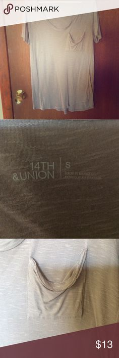 """Relaxed pocket tee Purchased at Nordstrom Rack. Brand is """"14th & Union"""". Size small. Could fit medium as well. Flowy and soft. Worn once. Taupe/Mauve colored. 14th & Union Tops Tees - Short Sleeve"""