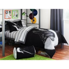 Black & White Rock Star Guitar Twin XL Comforter Set Piece Bed In A Bag) this bed set is at walmart for like and it's cute