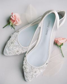 Romantic, Comfortable And Lace Mesh Wedding Flats With Floral Beading For  The Modern Bride. Shop Wedding Flats Now!