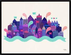 Ny plakat fra Michelle Carlslund, med en lilla by. 30x40 cm i størrelsen, trykket på steinpapir.