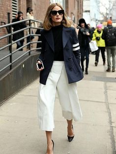 Olivia Palermo rocking her culottes with a blazer.