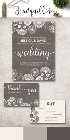 Modern Wedding Invitation Printable, Rustic Wedding Invitation, Gray Wedding Invitations, Printable Wedding Invitation Suite, Fall winter Wedding Invite, Grey Wedding Ideas. More wedding stationery at: tranquillina.etsy.com