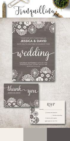 Modern Wedding Invitation Printable, Rustic Wedding Invitation, Gray Wedding Invitations, Printable Wedding Invitation Suite, Fall winter Wedding Invite, Grey Wedding Ideas. More wedding stationery at: tranquillina.etsy.com