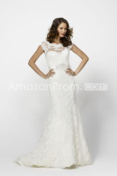 Amazing Sheath/Column Bateau Floor-length Court Lace Wedding Dresses