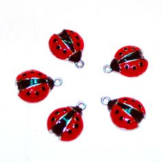 Enameled Red Lady Bug Charms  Black Dots  Good Luck  by marykerran, $6.00