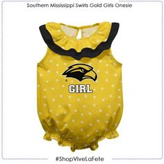 Let them enjoy on game day in this Southern Mississippi Swirls Gold Girls Sleeveless Onesie An officially Licensed product from Vive La Fete Collegiate Button back closure. Double ruffle collar Legs with elastic ruffle cuff Snap crotch closure Southern Miss Golden Eagles, Gold Girl, Double Ruffle, Ruffle Collar, Swirls, Mississippi, Onesies, Closure, Legs