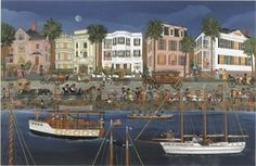 """Carol Dyer Hand Signed and Numbered Limited Edition Lithograph """" Parade of Lights in Charleston """" - Carol Dyer"""
