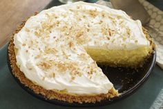 Take only 15 minutes to make a luscious Coconut-Cream Cheese Pie. The only challenge? Waiting for your Coconut-Cream Cheese Pie to come out of the fridge.