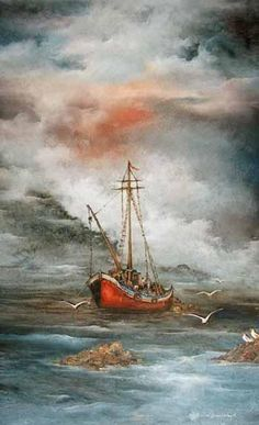 Auction archive: Auktionshaus Stahl - Auctions in Hamburg Ship Paintings, Seascape Paintings, Landscape Paintings, Sailboat Painting, Boat Art, Painting Inspiration, Watercolor Paintings, Art Photography, Scenery