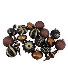 Set of 18 Black Brown and Gold Ball Finial and Onion Shatterproof Christmas Ornaments 3 6 >>> You can find out more details at the link of the image.