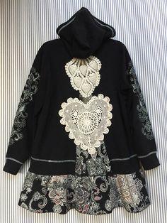 Upcycled Black Crochet Lace hoodie Shabby Boho Chic Jacket