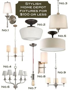 Home Depot Lighting Fixtures under $100