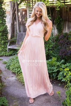 Your Shopping Cart Blush Dresses, Modest Dresses, Pleated Maxi, Pleated Dresses, Modest Boutique, Summer Gowns, Church Dresses, Beautiful Outfits, Vintage Dresses