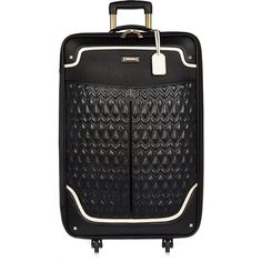River Island Black quilted panel suitcase ($130) ❤ liked on Polyvore featuring bags and luggage