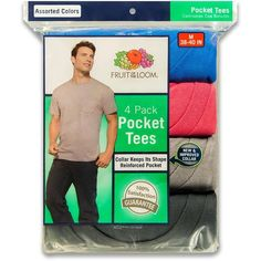 2420a6086ea367 Amazon.com  Fruit of the Loom Men s Pocket Crew Neck T-Shirt (Pack of 4)   Clothing