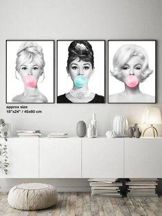 Set of 3 Wall Art Brigitte Bardot, Audrey Hepburn, Marilyn Monroe Bubble Gum Poster, Bubblegum Pop Art, Black and White Printable Wall Art Art Furniture, Marilyn Monroe Room, Brigitte Bardot, Art Decor, Decoration, Home Decor, Studio Apartment Design, Lash Room, Fashion Wall Art
