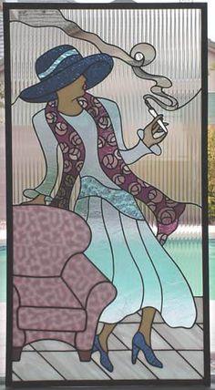stained glass window classy lady smoking