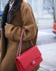 Go Big Or - Chanel Red - Ideas of Chanel Red - Chanel red jumbo classic flap bag Burberry Handbags, Chanel Handbags, Leather Handbags, Women's Handbags, Chanel Bags, Burberry Bags, Chanel Shoes, Designer Handbags, Chanel Jumbo