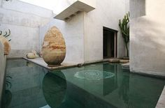 Moroccan Style house in Venice Beach surrounded by shallow pools and gardens of cacti and succulents