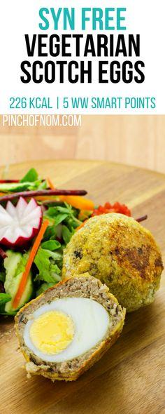 Vegetarian Scotch Eggs - Pinch Of Nom Syn Free Vegetarian Scotch Eggs Quorn Recipes, Veggie Recipes, Diet Recipes, Cooking Recipes, Healthy Recipes, Healthy Snacks, Recipies, Slimming World Vegetarian Recipes, Weight Watchers Vegetarian