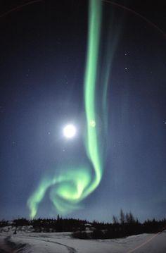 Full Moon with Aurora Borealis (Northern Lights) in Yellowknife, Canada