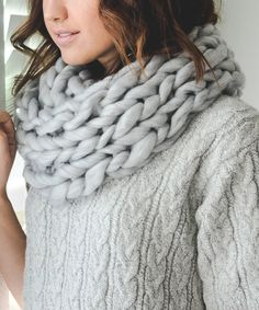 This Leto Collection White & Gray Heather Braided-Knit Infinity Scarf by Leto Collection is perfect! #zulilyfinds