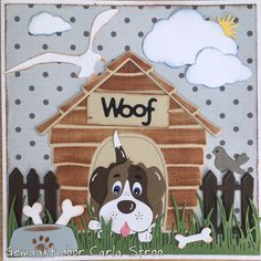 Dog Cards, Kids Cards, Birthday Cards For Boys, Boy Birthday, Marianne Design, Animal Cards, Hobbies And Crafts, Paper Piecing, Making Ideas