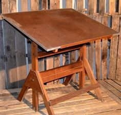 Antique Wooden Drafting Table, With Original Hardware. Hello, Harvey!  Available On Our