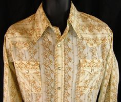 Sears Western Wear Men's Size 15 Shirt Pearl Snap Rockabilly Cowboy Medium M  #Sears #ButtonFront