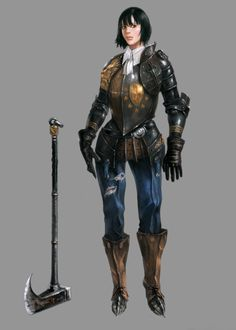 """Another axe warrior. Sorta awkward pose, but don't mess with her. She will chop you. Nearest I can tell, by """"Heegur"""". Fantasy Female Warrior, Female Knight, Fantasy Armor, Warrior Women, Female Armor, Dnd Characters, Fantasy Characters, Female Characters, Fantasy Character Design"""